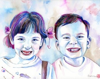 CHILDREN SIBLINGS PORTRAIT / Family painting with watercolor from photo / Gift for mom, birthday gift mom, mother gift pencil drawing