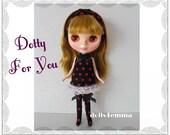 BLYTHE DOLL Clothes handmade Custom Fashion - Dress + Hairband + Socks - Jewelry Set - by dolls4emma