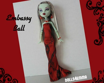 Monster High Doll Clothes - Custom Handmade Fashion Holiday GOWN and JEWELRY Set Red with black lace - by dolls4emma