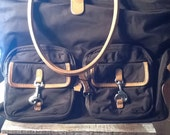 Vintage J. Crew Large Brown Tote /purse with leather trim