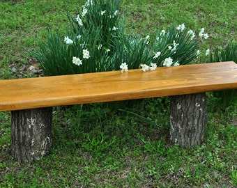 Outdoor Cypress bench top, stained cherry