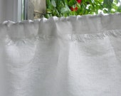 Kitchen privacy curtain and valance set frayed natural white linen cafe curtain panel with fringe in shabby chic style