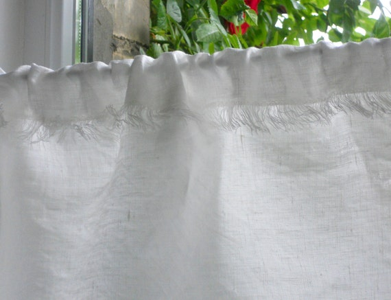 Kitchen privacy curtain and valance set, frayed natural white linen cafe curtain panel with fringe in shabby chic style