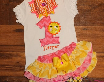 You are my Sunshine Birthday Ruffled Bloomers Outfit