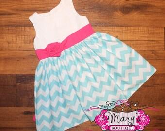 Pink and Aqua Party Dress
