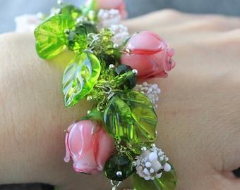Lampwork Bracelet, Lampwork beaded Bracelet, Lampwork beads Floral Bracelet, Flower Bracelet, Rose Bracelet, Roses Bracelet, Pink Bracelet