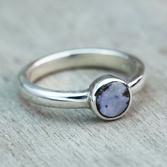 tiny and simple boulder opal ring in sterling silver unique