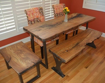 Live Edge Slab Table Set made from Rock Elm or other wood species