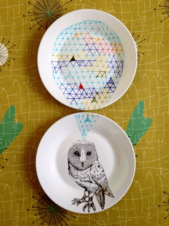 Owl Geometric Design Plates hand illustrated porcelain