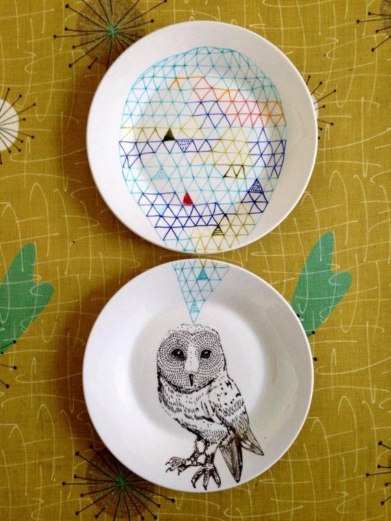 Owl Geometric Design Plates hand illustrated porcelain