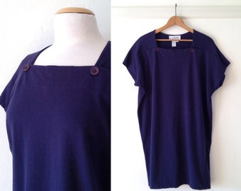 oversized tshirt / tunic tops / 90s tops / navy t shirt / minimalist clothing / square neck top
