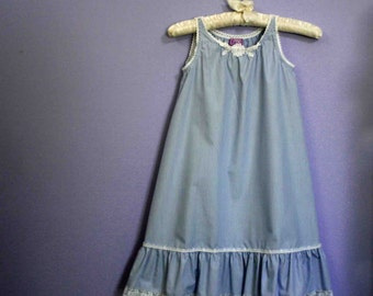 Girls Cotton Nightgown, size 4 calf length, Ready-To-Ship
