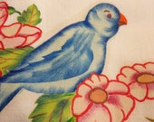 Vintage Pillowcase Floral with Blue Birds - Crochet Lace Border One of a kind