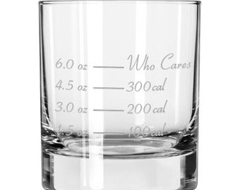The Jim, Jack & Johnny - The calorie counting old fashioned glass by Caloric Cuvee - gift for dad - groomsmen gift -gift for whiskey drinker