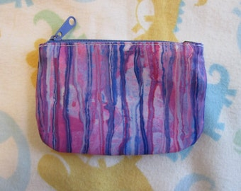 Abstract Purple Drip Zipper Coin Purse, ID Case, Credit Card Holder, Stocking Stuffers, Wallet, Funky Pastel Slime Art