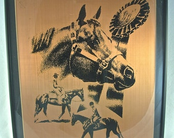HORSE RACING Picture Wall Hanging Decor, Etched Copper Plate, T. Kiddy, Equestrian