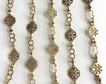 Vanessa Chain, Large Fancy Brass Chain, Station Chain, 12mm, 3FT