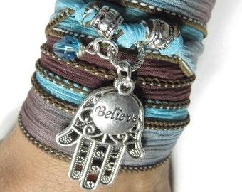 Bohemian Hamsa Silk Wrap Bracelet Yoga Jewelry Namaste Spiritual Believe Ribbon Band Bracelet Boho Chic Mother's Day Unique Christmas Gift