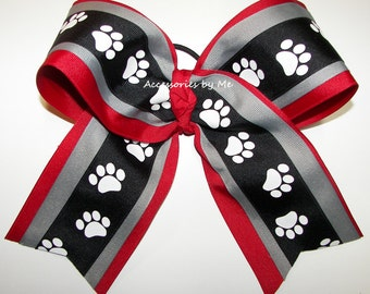 Bulldogs Cheer Bow, Red Black Paw Print Bow, Cheerleader Georgia Bulldogs Cheerbows, Dawgs Softball Bows, GA Volleyball Bow, Team Bulk Price