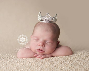 Silver baby crown, girl tiara, cake topper, princess baby