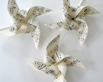 Set of sheet music pinwheels, musician's party