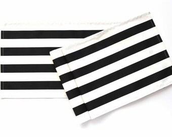 """Black and White Table Runner, Striped Runner, Wedding Table Runner, 13-1/2"""" x 84"""""""