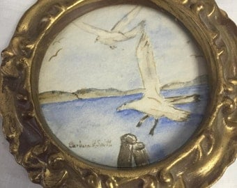 Vintage Miniature Seaside Watercolor Painting - Sweet