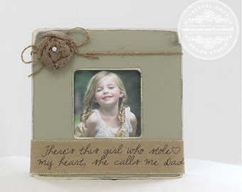 Dad GIFT Personalized Picture Frame 'There's This Girl That Stole My Heart She Calls Me Dad' Father's Day Gift for Husband