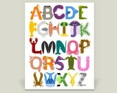 Under the Sea Ocean Alphabet Print, Children's and Baby Nursery Artwork