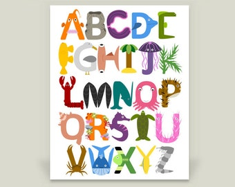 Under the Sea Alphabet Print, Ocean ABC Poster, Nursery Decor Artwork