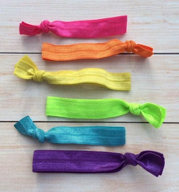Items Similar To Rainbow Hair Ties Elastic Hair Ties