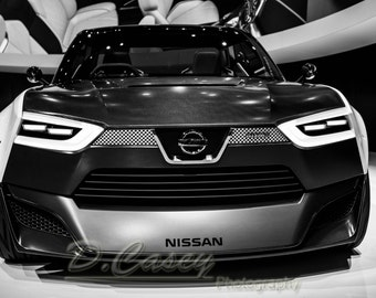 Nissan concept car, Photography, fine art Photography, Black and white, wall art, home décor, car photography, vintage,auto, gift, print