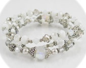 Stackable White and Crystal Stretch Bracelets - Set of Three Stretch Bracelets