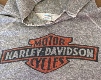 HARLEY DAVIDSON Shirt 1970's Vintage/ RARE Early 70's Champion Blue Bar Raglan Tri-Blend Rayon Sweatshirt/ Ink Print UsA Motorcycle