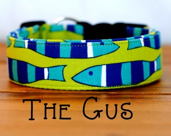 """Green, Turquoise & Blue Fish Dog Collar """"The Gus"""""""