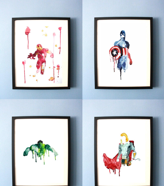Splatter Paint Bedroom Avengers Art Print Abstract Watercolor Avengers Painting