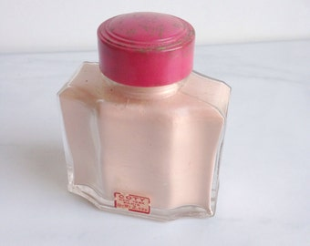 Vintage Apothecary Bottle Powder Jar Bottle Coty Cosmetics   Pink Decor  Bathroom Decor  Vanity Vintage Cosmetics