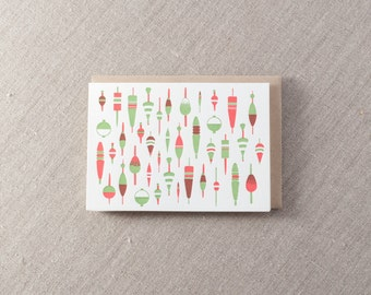 Fishing Bobbers Letterpress Greeting Card