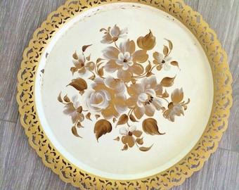 Gold White Tole Tray , Nashco Tole Tray , Gold Roses Tray , Mid Century Tray