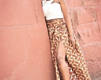 African maxi skirt, African high slit skirt, high split, African clothing, African print, African handmade clothing, Ankara fashionBombshell