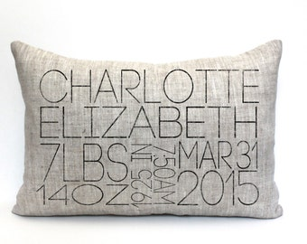 "baby gift, baby pillow, baby shower gift, child's name pillow, personalized pillow, birthday pillow, christmas gift - ""The Charlotte"""