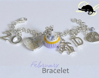 Your FEBRUARY Birthday Bracelet - Cupcake with candle, birthstone,letter,locket,family and zodiac charm - Personalised (In Stock)