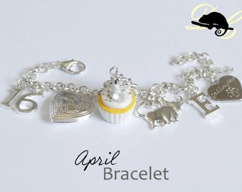 Your APRIL Birthday Bracelet - Cupcake with candle, birthstone,letter,locket, and zodiac charm - Personalised (In Stock)