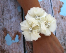 Chiffon Flower Wrist Corsage , Vintage Inspired  , Mother of the Bride , Bridal Shower , Prom Wristlet Corsage
