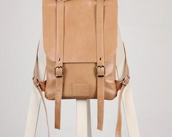 Soft beige  leather backpack rucksack / To order / Small backpack / Leather backpack / Leather rucksack / Womens backpack / Christmas Gift
