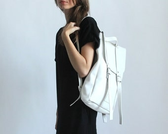 White middle size leather backpack rucksack / To order / White Leather Backpack / Leather rucksack / Womens backpack / Christmas Gift