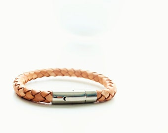Braided Tan Leather Silver Magnetic Clasp Bracelet