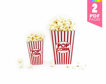 Movie Night Popcorn Boxes (High Quality Printable PDF Pages) - INSTANT DOWNLOAD