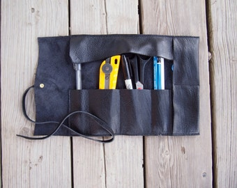 large / small Leather Pencil Case, makeup, art tool roll / wrap / case / organizer