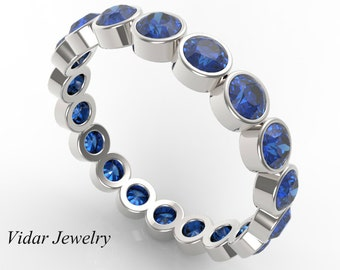25 ct blue sapphire wedding bandwomen wedding bandeternity wedding band bezel